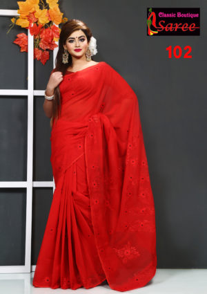 Pure Red Muslin Silk Saree || Girls Fashion BD