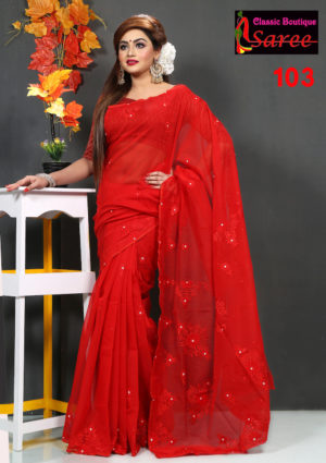 Pure-Red-Muslin-Silk-Saree